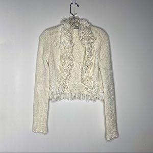 White House Black Market Frilly Sweater Off White